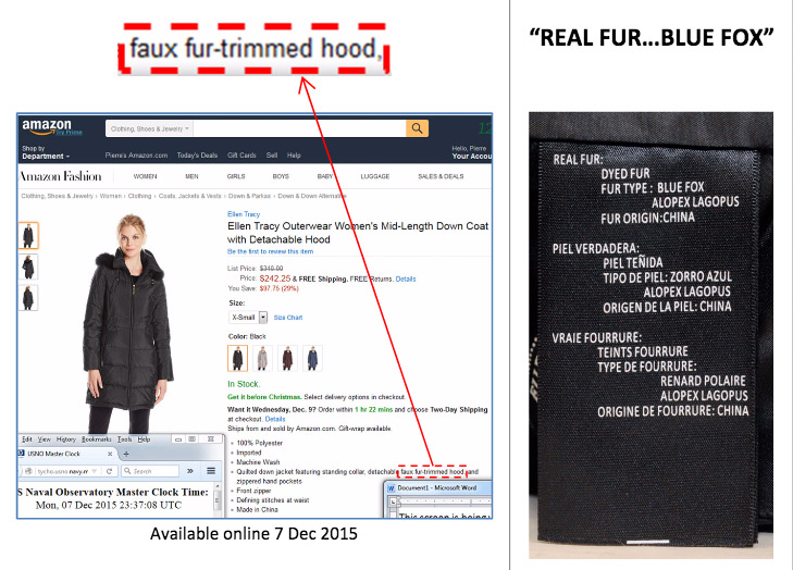amazon faux fur false advertising